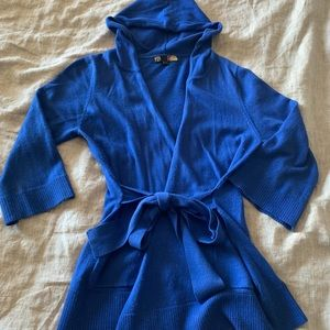 Forever 21 Blue Hooded Cardigan
